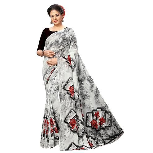 Swara Enterprise - Grey Poly Georgette Screen Print Saree With Blouse