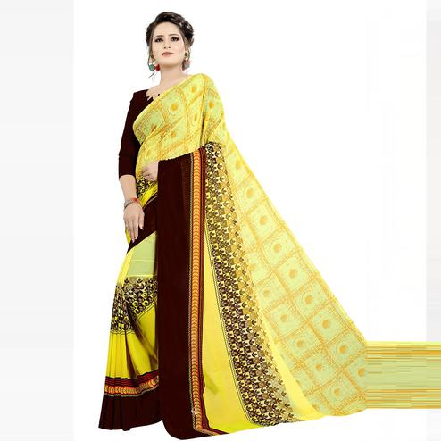Swara Enterprise - Yellow Poly Georgette Screen Print Saree With Blouse