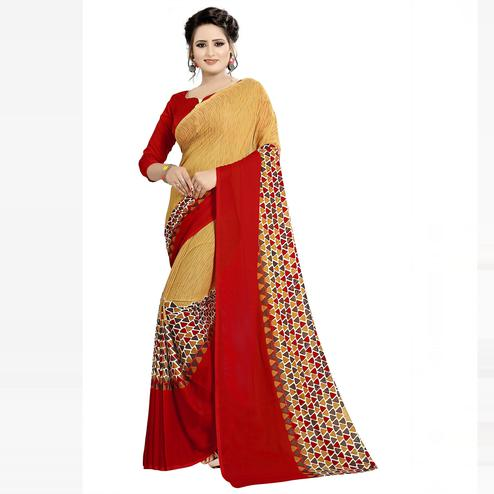 Swara Enterprise - Red and Beige Poly Georgette Geometric Print Saree With Blouse