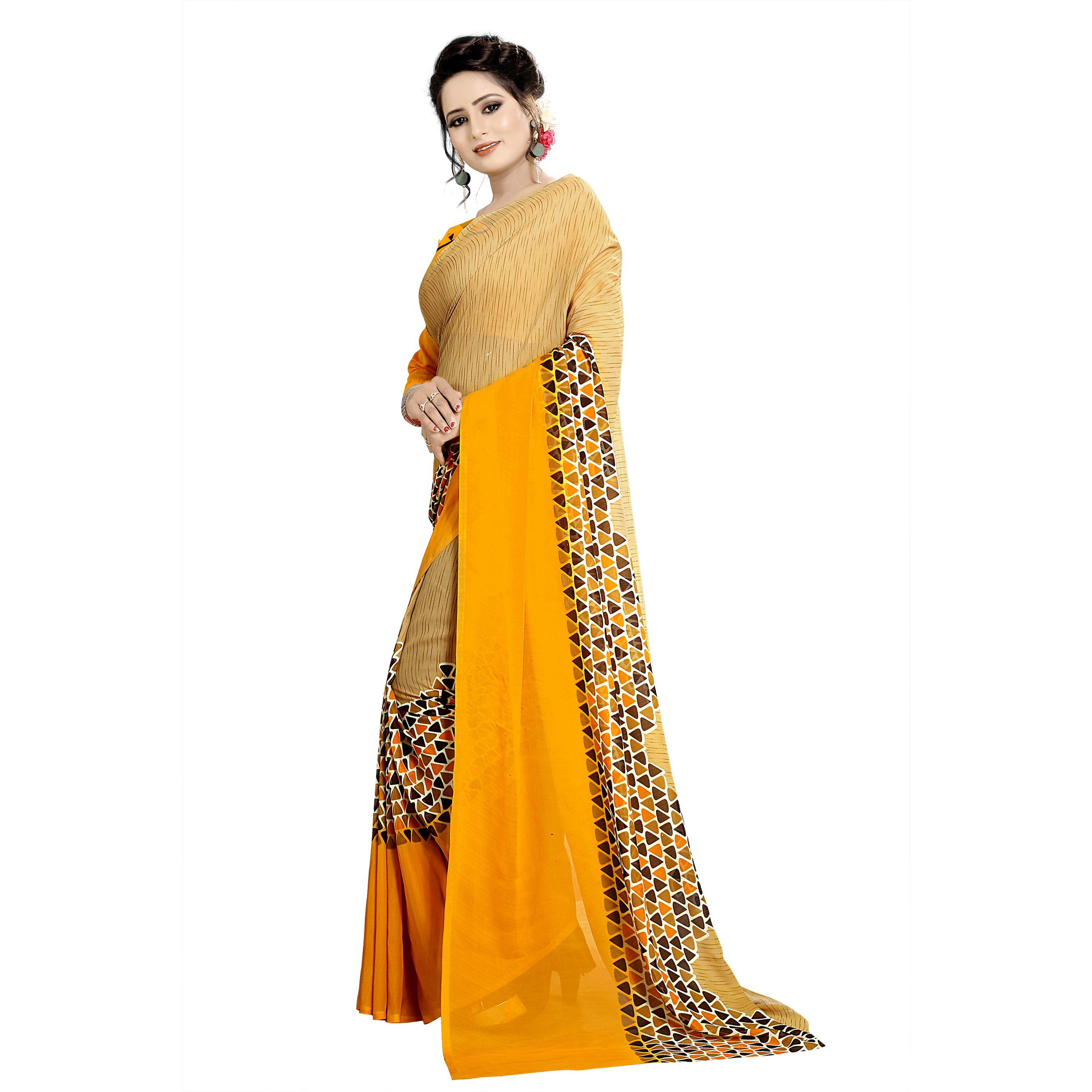 Swara Enterprise - Yellow and Beige Poly Georgette Geometric Print Saree With Blouse