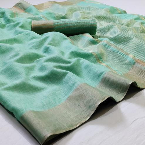 Ethnic Turquoise Green Colored Festive Wear Woven Linen Saree