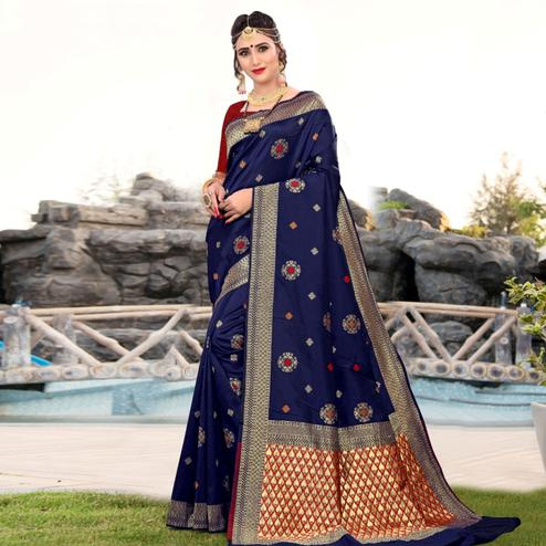 Desirable Navy Blue Colored Festive Wear Woven Lichi Silk Saree