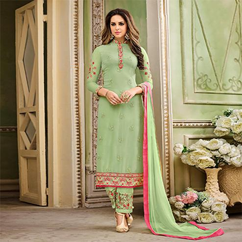 Graceful Green Designer Partywear Embroidered Faux Georgette Pant Style Suit