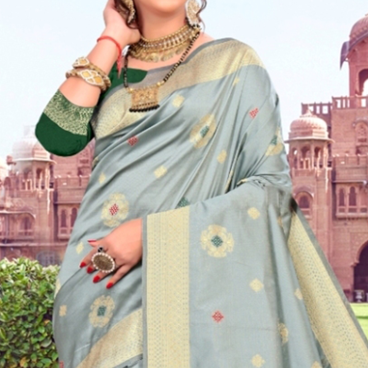 Trendy Grey Colored Festive Wear Woven Lichi Silk Saree