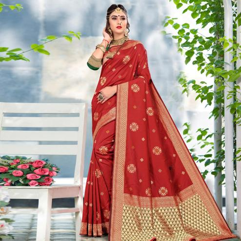 Elegant Red Colored Festive Wear Woven Lichi Silk Saree
