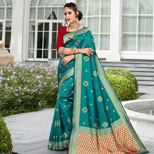 Radiant Rama Green Colored Festive Wear Woven Lichi Silk Saree
