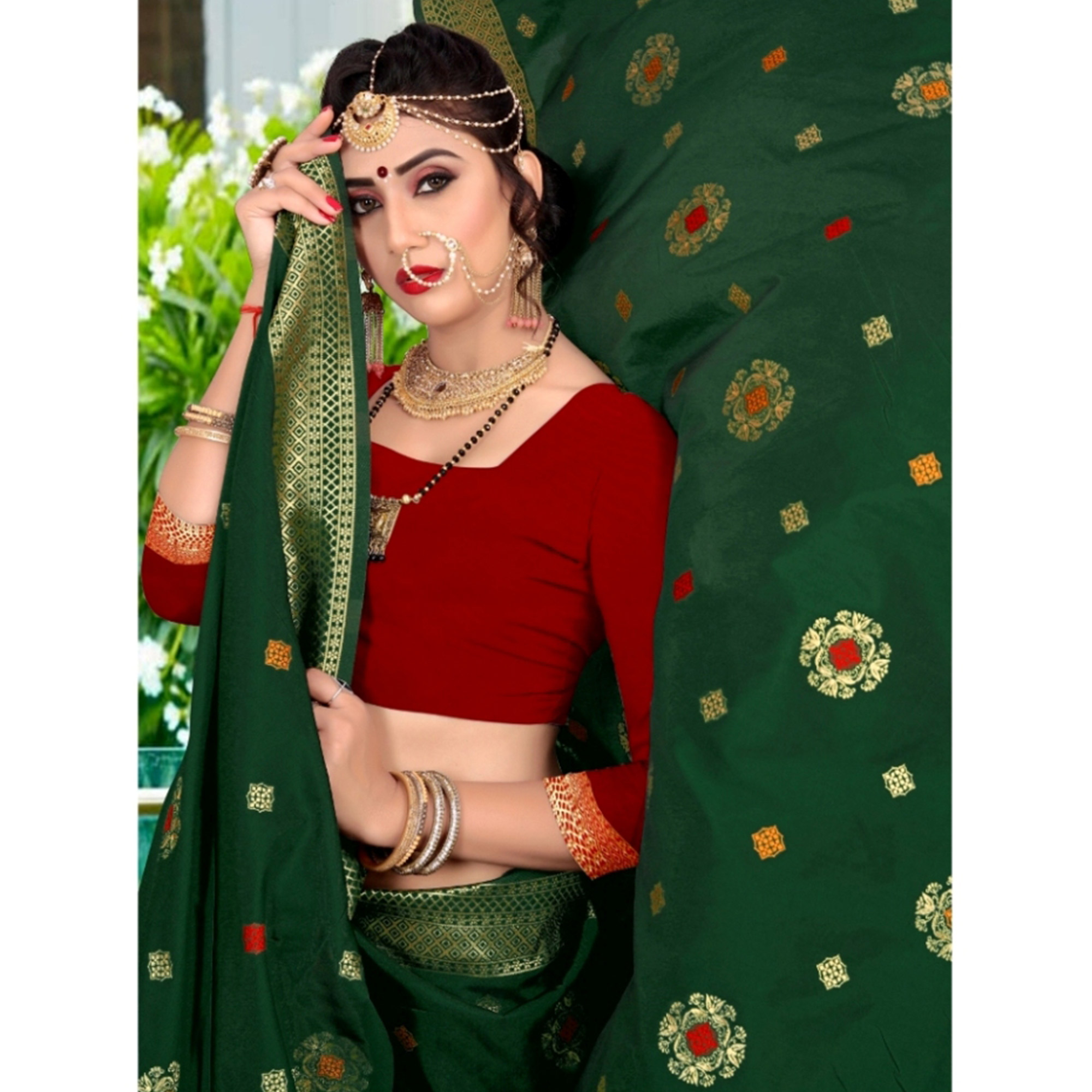 Opulent Dark Green Colored Festive Wear Woven Lichi Silk Saree