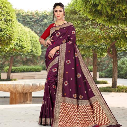 Energetic Purple Colored Festive Wear Woven Lichi Silk Saree