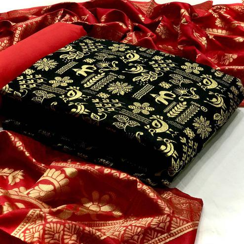 Glowing Black Colored Festive Wear Woven Banarasi Silk Dress Material