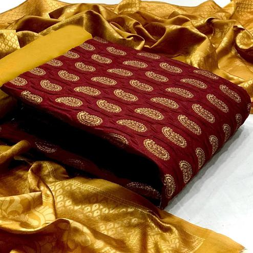 Gleaming Maroon Colored Festive Wear Woven Banarasi Silk Dress Material