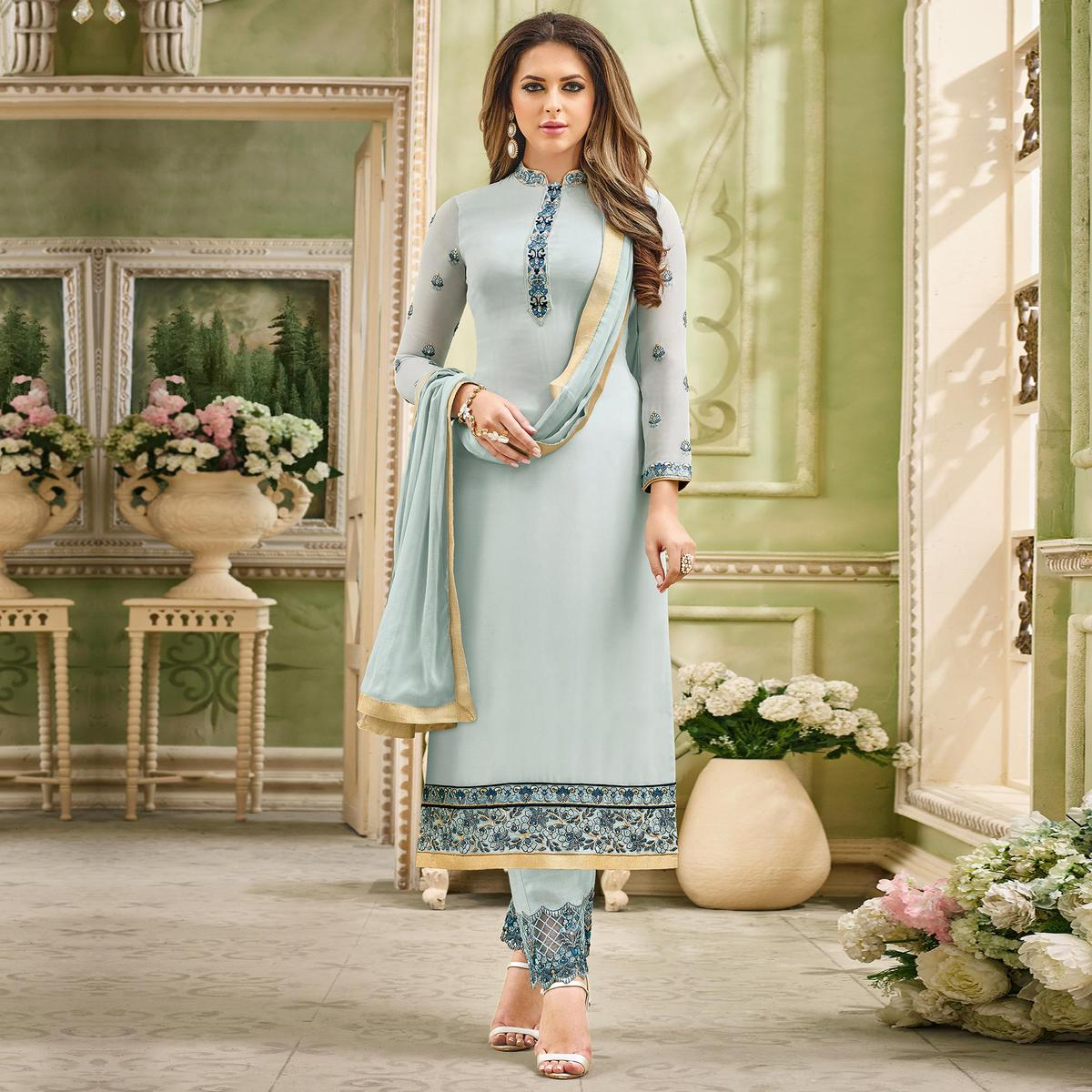 Gorgeous Gray Designer Partywear Embroidered Faux Georgette Pant Style Suit