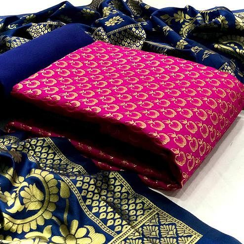 Unique Pink Colored Festive Wear Woven Banarasi Silk Dress Material