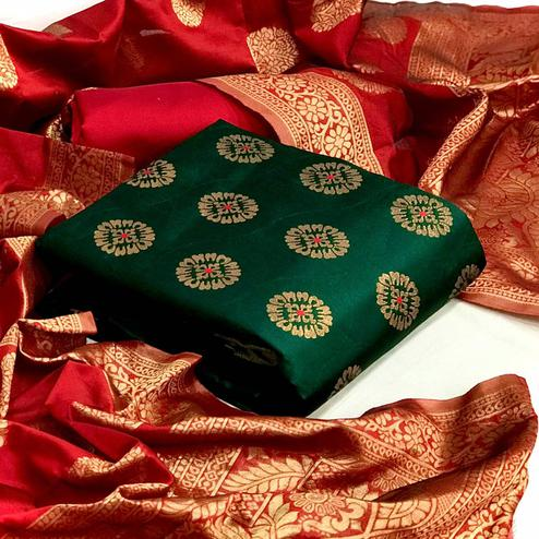 Magnetic Green Colored Festive Wear Woven Banarasi Silk Dress Material