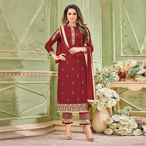 Marvellous Maroon Designer Partywear Embroidered Faux Georgette Pant Style Suit