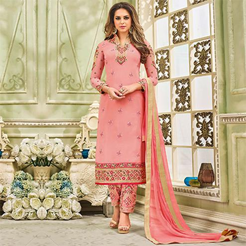 Lovely Pink Designer Partywear Embroidered Faux Georgette Pant Style Suit