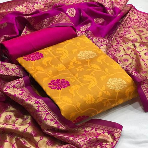 Adorable Yellow Colored Festive Wear Woven Banarasi Silk Dress Material