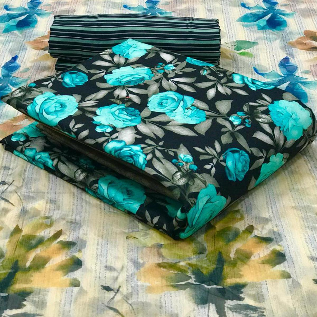 Captivating Dark Navy Blue Colored Casual Wear Printed Pashmina Dress Material