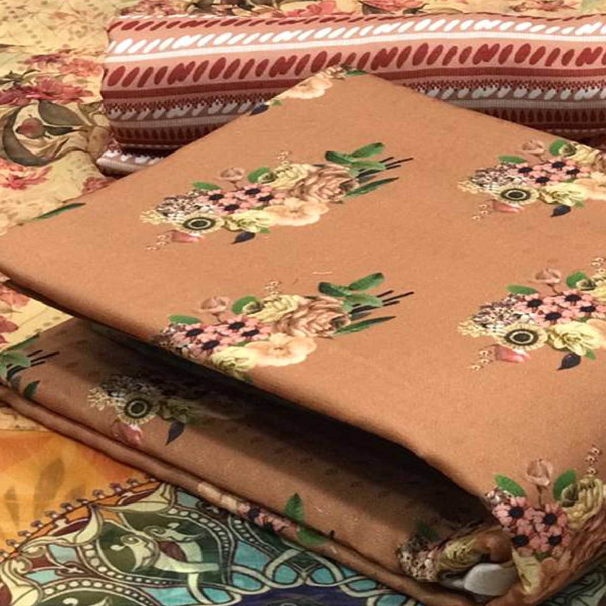 Innovative Beige Colored Casual Wear Printed Pashmina Dress Material