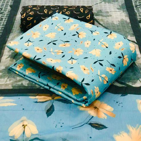 Amazing Light Blue Colored Casual Wear Printed Pashmina Dress Material