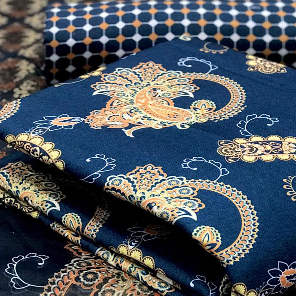 Ideal Navy Blue Colored Casual Wear Printed Pashmina Dress Material
