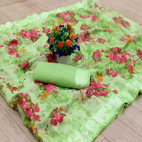 Lovely Green Colored Casual Wear Floral Printed Cotton Blend Saree