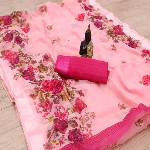 Pleasance Peach Colored Casual Wear Floral Printed Cotton Blend Saree