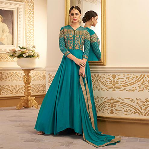 Dazzling Green Colored Designer Embroidered Heavy Silk Anarkali Suit