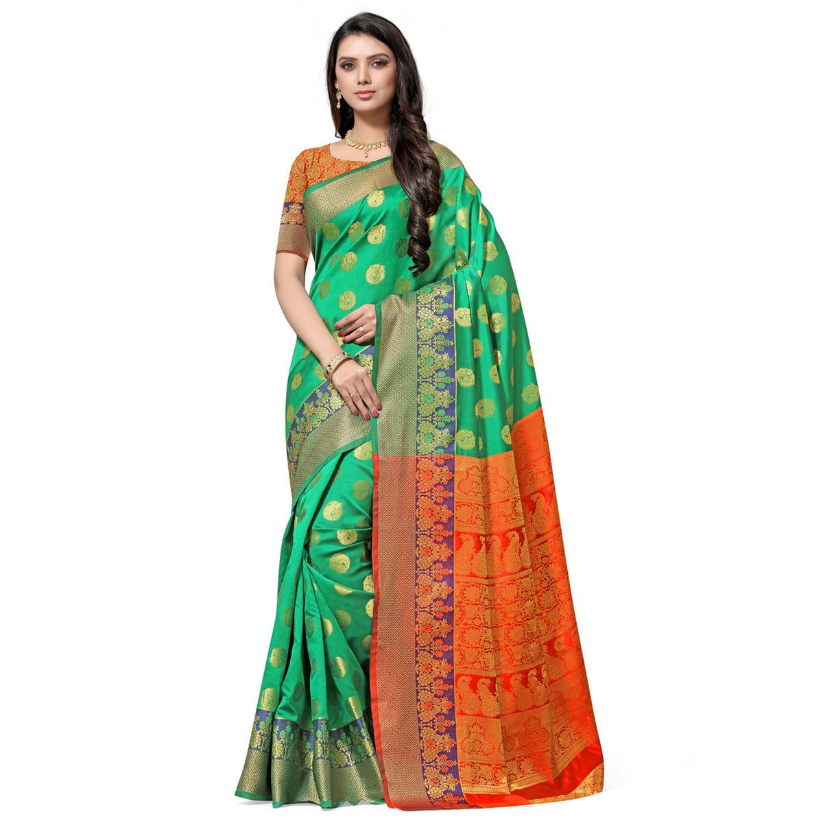Arresting Green Colored Festive Wear Woven Kota Art Silk Banarasi Saree