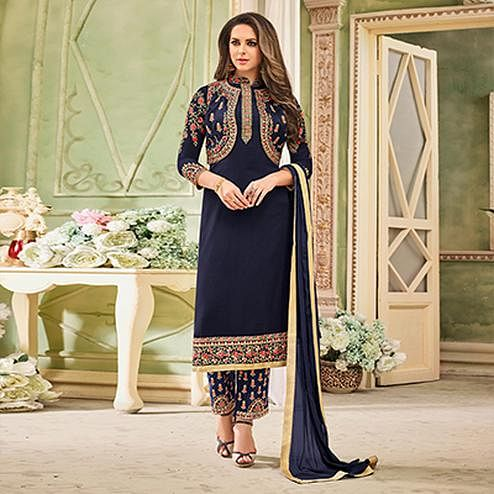 Mesmerising Navy Blue Designer Partywear Embroidered Faux Georgette Pant Style Suit