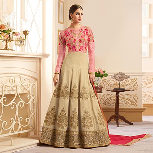 Elegant Beige Colored Designer Embroidered Heavy Silk Anarkali Suit