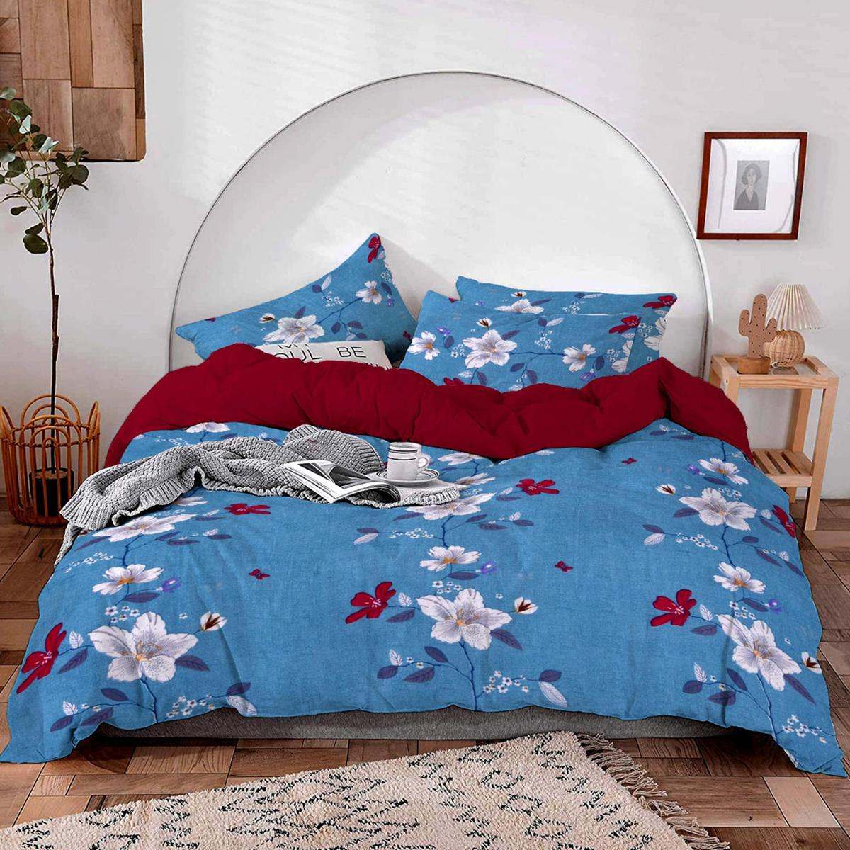 Sapphire Blue Color Printed Poly Cotton Bedsheet Comes With 2 Pillow Cover
