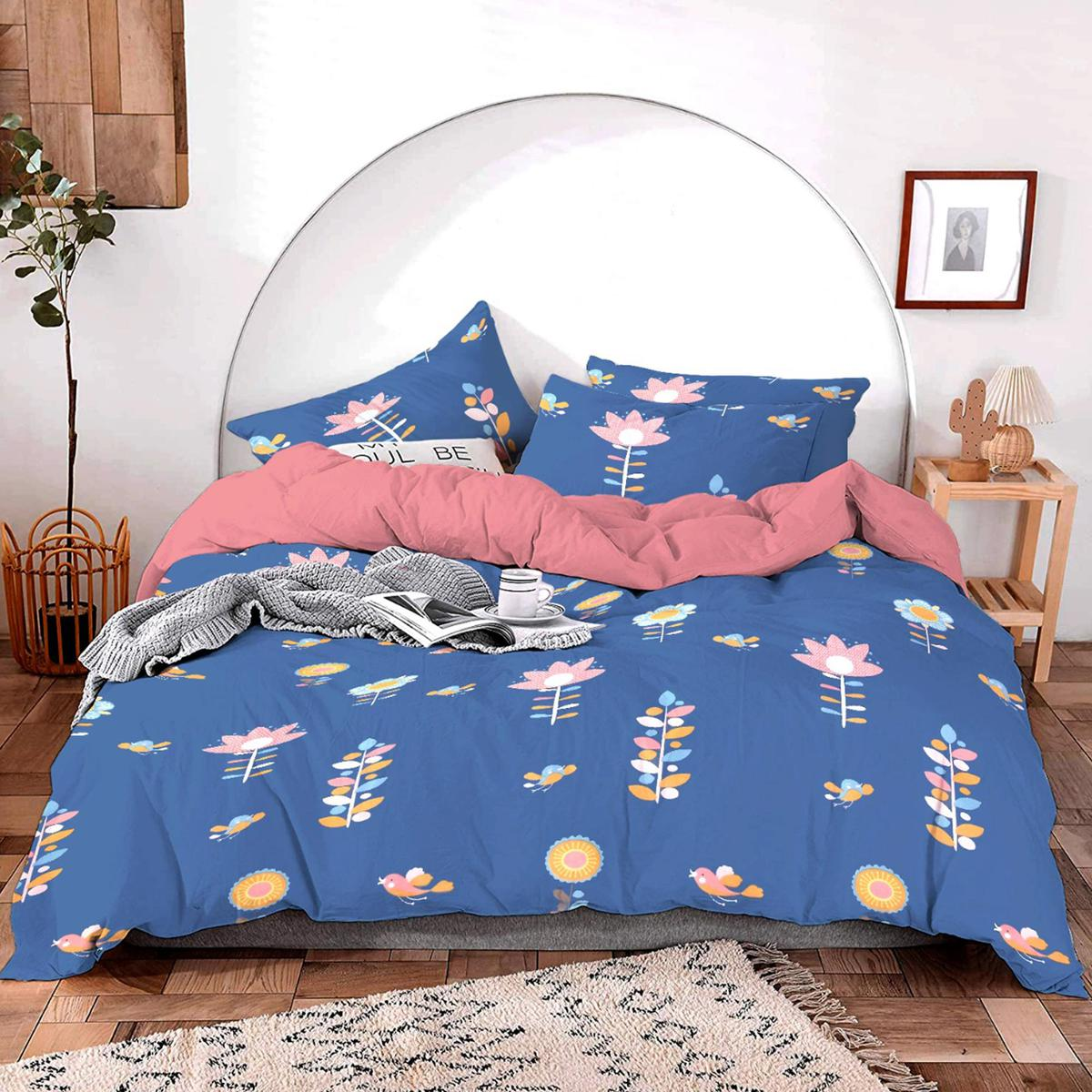 3D Design Beautifully Printed Poly Cotton Bedsheet Comes With 2 Pillow Cover Fabulous BLUE Color