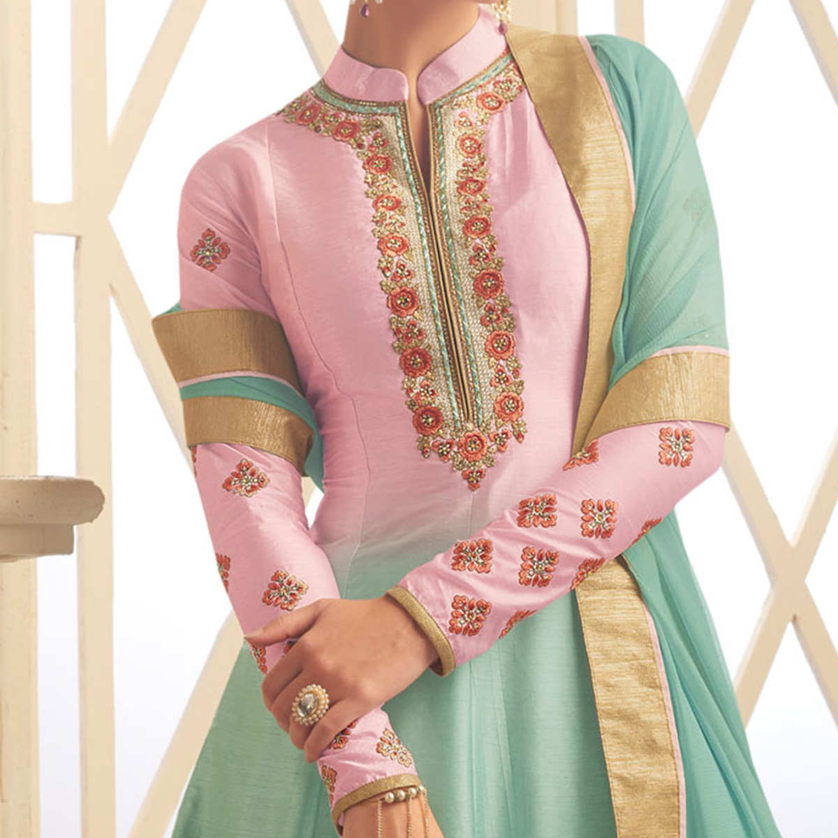 Stunning Pink-Blue Colored Designer Embroidered Heavy Silk Anarkali Suit
