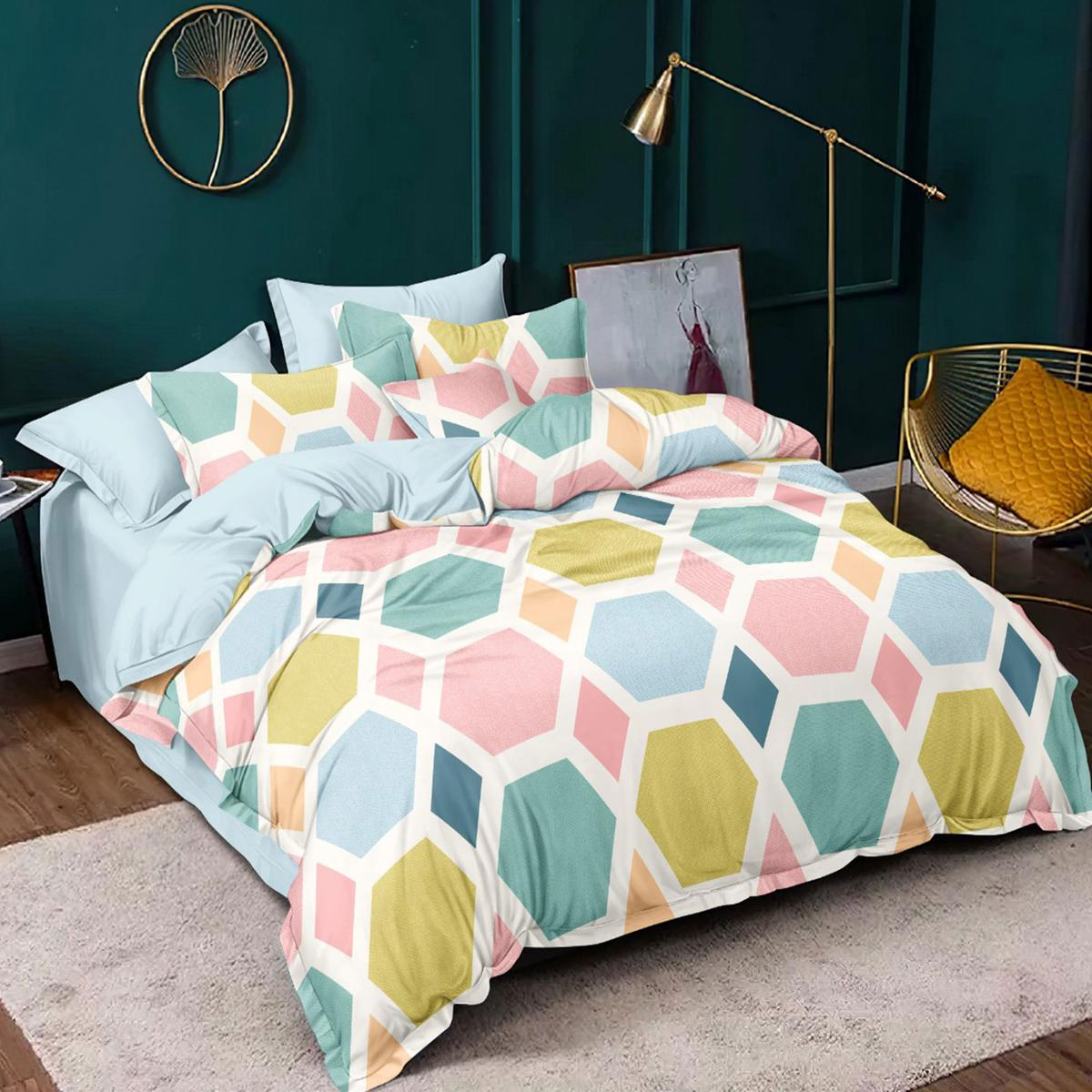 Beautifully Sea Green Color Poly Cotton Printed Bedsheet Comes With 2 Pillow Cover