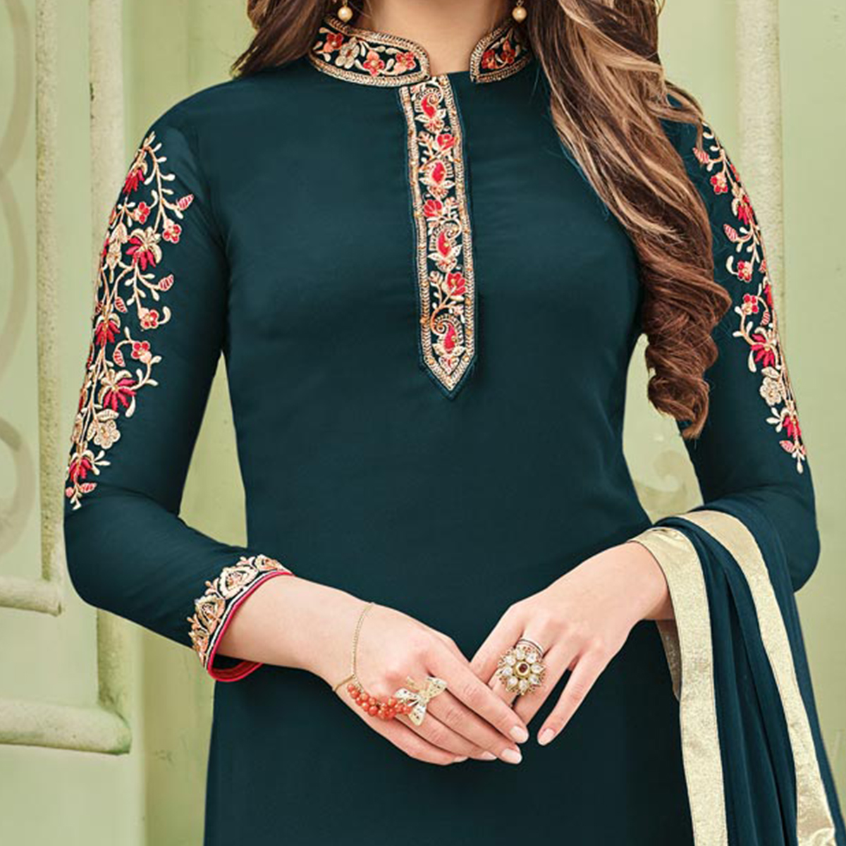 Gorgeous Bottle Green Designer Partywear Embroidered Faux Georgette Pant Style Suit
