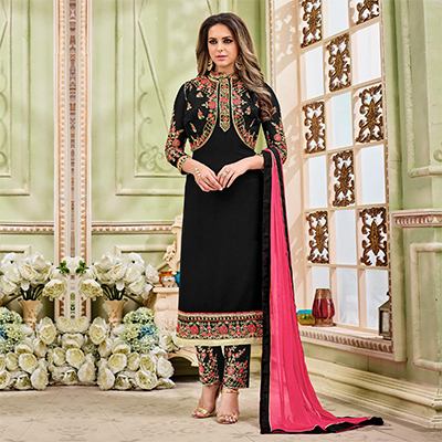 Stunning Black Designer Partywear Embroidered Faux Georgette Pant Style Suit
