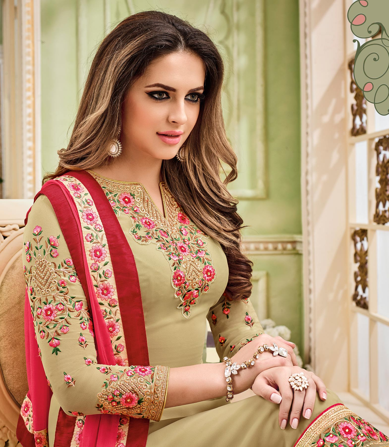 Elegant Beige Designer Partywear Embroidered Faux Georgette Pant Style Suit