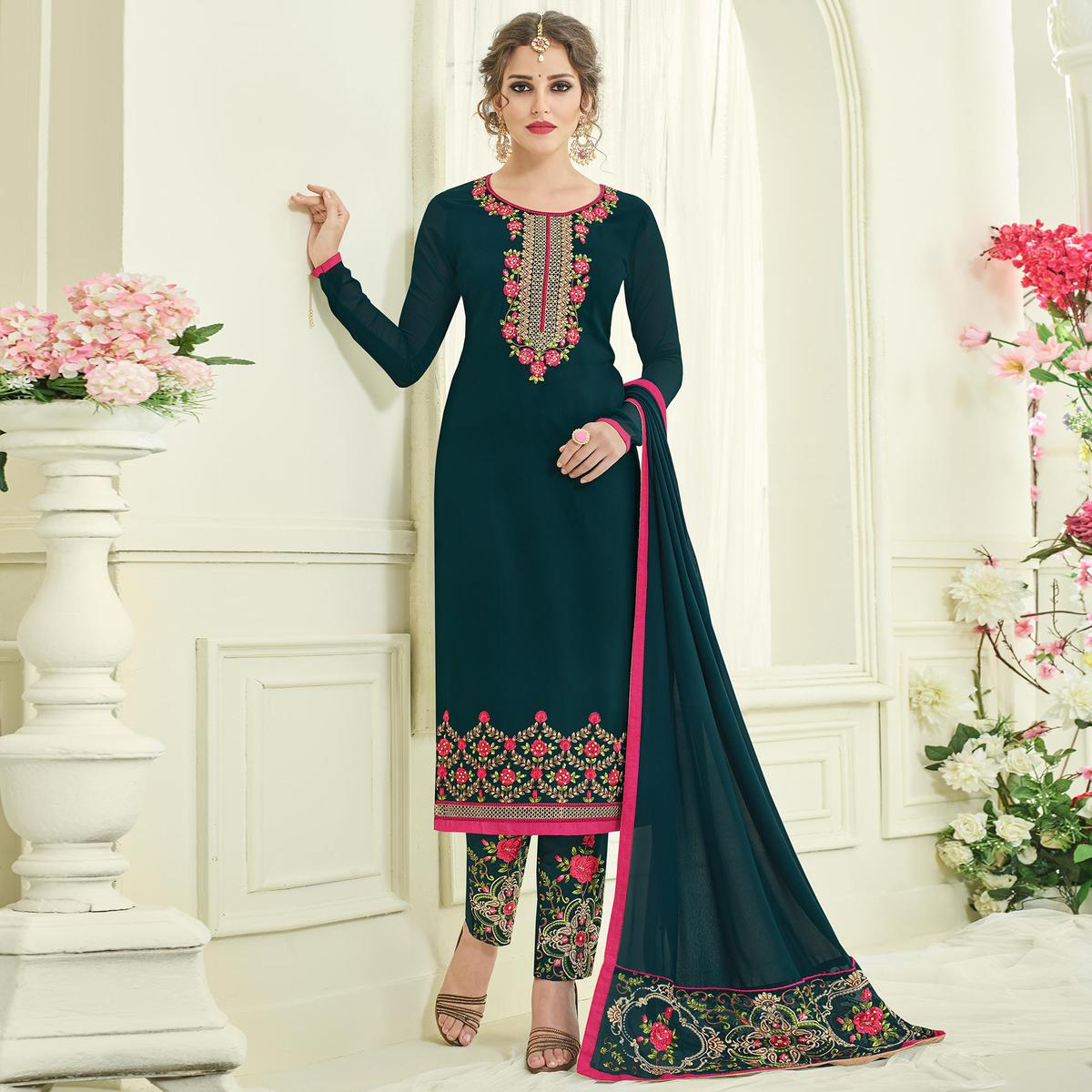 Mesmerising Bottle Green Designer Partywear Embroidered Faux Georgette Pant Style Suit