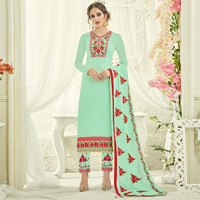 Alluring Green Designer Partywear Embroidered Faux Georgette Pant Style Suit