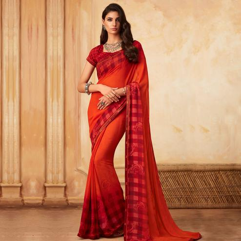 Adorable Red Colored Partywear Printed Georgette Saree