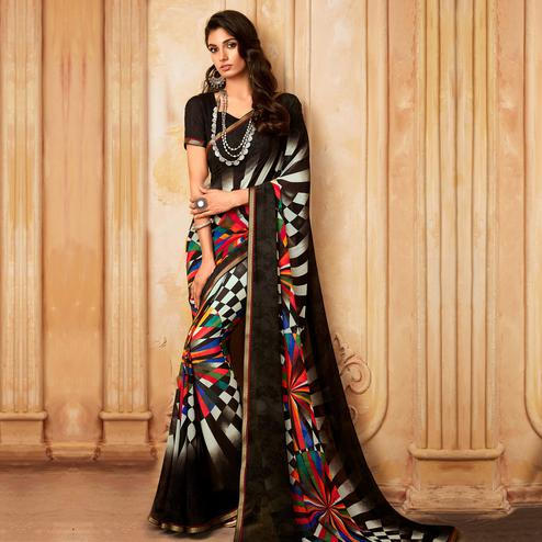 Glorious Black Colored Partywear Printed Georgette Saree