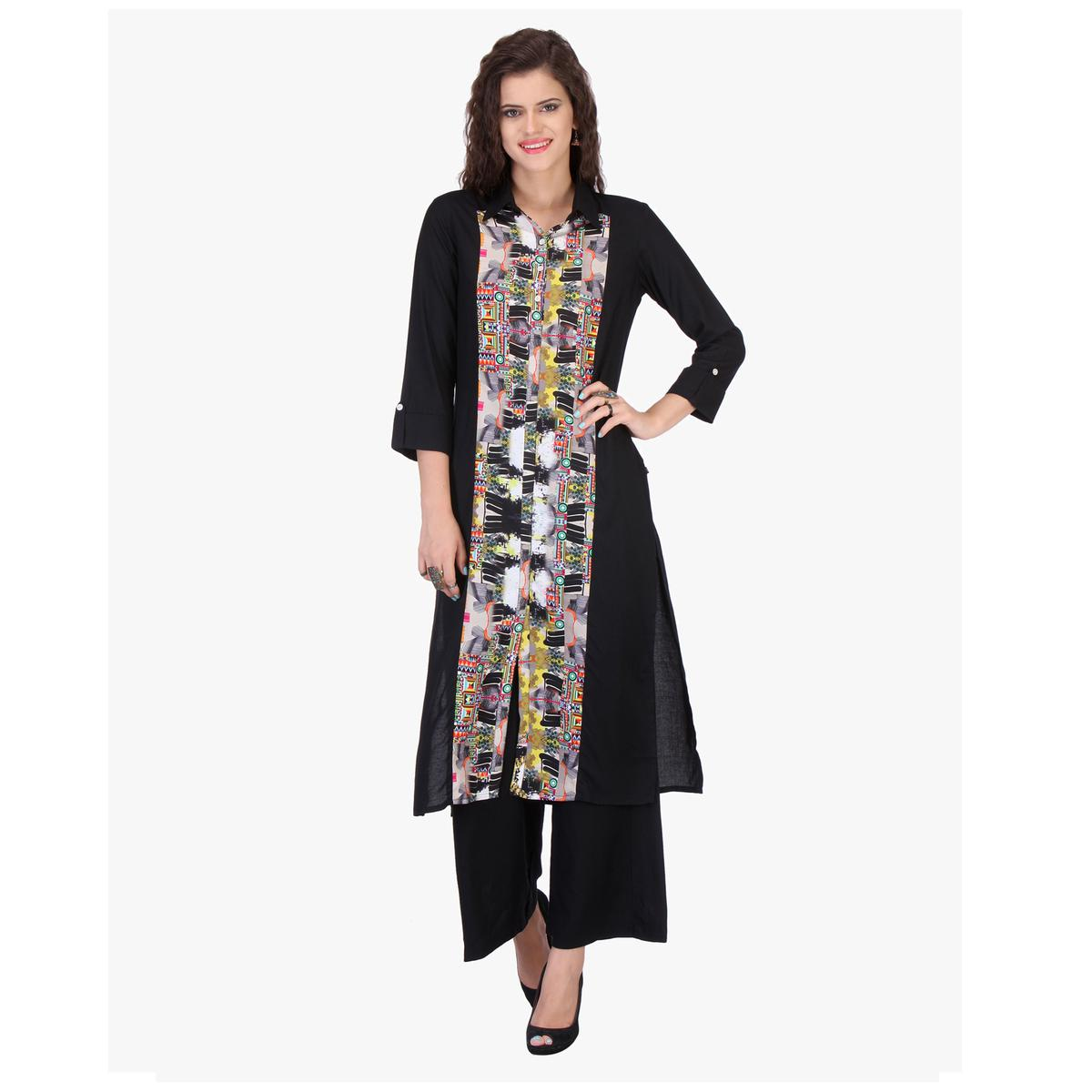 Black Abstract Design Printed Kurti