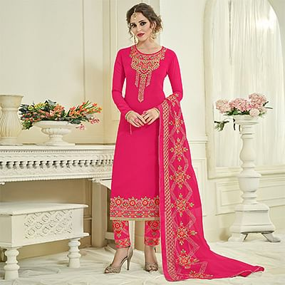 Graceful Pink Designer Partywear Embroidered Faux Georgette Pant Style Suit