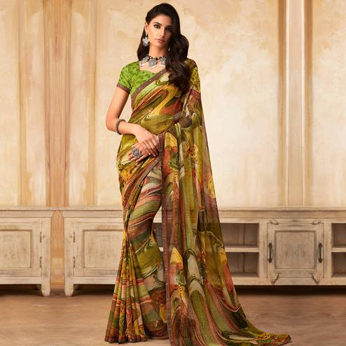 Charming Green Colored Partywear Printed Georgette Saree