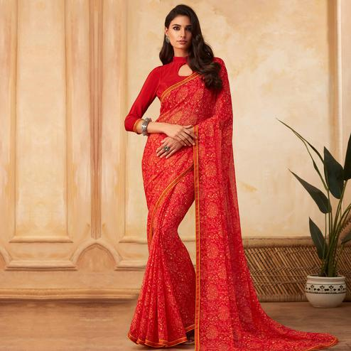 Jazzy Red Colored Partywear Printed Georgette Saree
