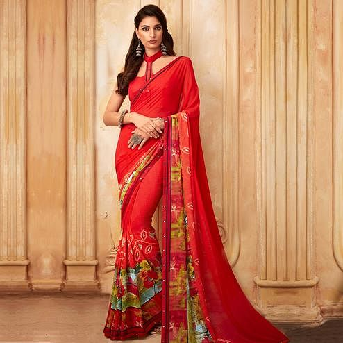 Delightful Red Colored Partywear Printed Georgette Saree