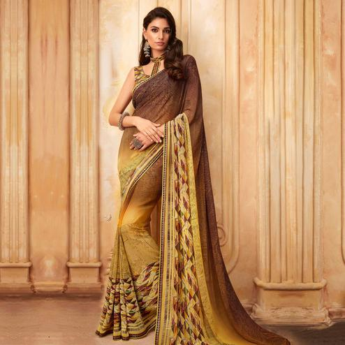 Engrossing Yellow - Brown Colored Partywear Printed Georgette Saree