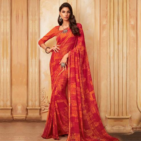 Captivating Red Colored Partywear Printed Georgette Saree