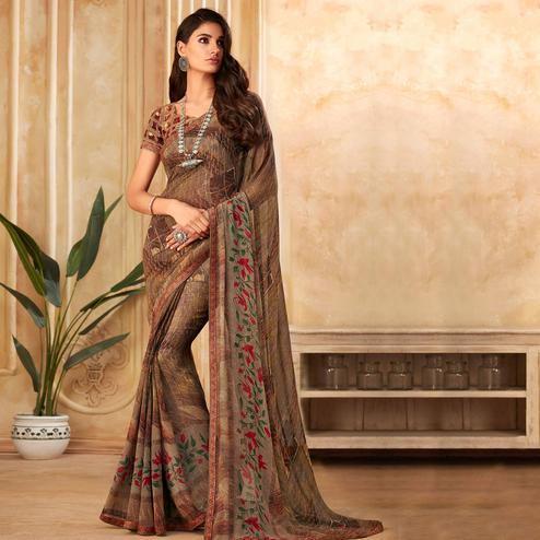 Innovative Brown Colored Partywear Printed Georgette Saree