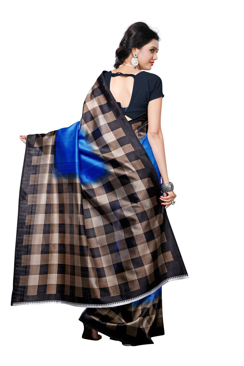 Blue - Black Checkered Printed Saree